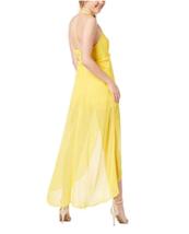 Material Girl Juniors Maxi Dress Halter Romper Sheer Dandellion Yellow W... - $32.25