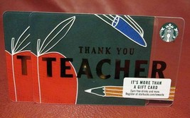 Lot Of 2 Starbucks 2017 Thank You Teacher Gift Cards New With Tags - $8.84