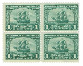1920 Pilgrim Tercentenary Mayflower Block of 4 US Stamps Catalog Number 548 MNH