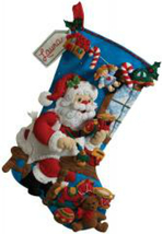 Bucilla Felt Stocking Kit, In The Workshop, 18in embroidery, XMAS, Christmas - $22.99