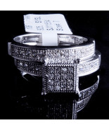 Ladies 14K White Gold Fn Lab Diamond Round Cut Cluster Bridal Ring Two Band - $49.99