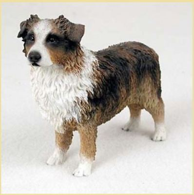 AUSTRALIAN SHEPHERD AUSSIE (brown) DOG Figurine Statue Hand Painted Resin