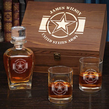 Army Strong Personalized Whiskey Army Retirement Gift Set - $129.95