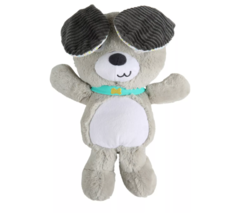 Bright Starts Belly Laughs Puppy Stuffed Plush Musical Gray White Corduroy Ears - $49.49