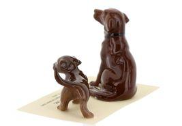 Hagen Renaker Dog & Puppy Labrador Retriever Chocolate Ceramic Figurine Set image 5