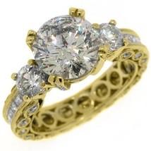 4.5 CARAT WOMENS 3-STONE PAST PRESENT FUTURE DIAMOND RING ROUND CUT YELL... - £30,547.36 GBP
