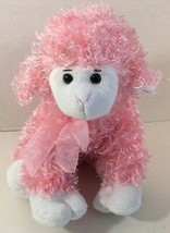 Animal Adventure Lamb Sheep pink white Plush 2010 curly fur hair - $9.89