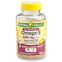 Spring Valley Omega-3 Fish Oil Softgels, 500 Mg, 120 Count - $21.82
