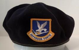 USAF Navy Blue Air Force Beret Defensor Fortis Flash Inspection Distress... - $24.74