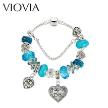VIOVIA 2019 Women Bracelets & Bangles Antique Silver Heart Charms Bracel... - $10.01