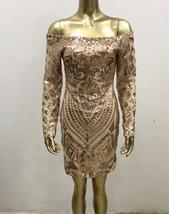 Brand Designer Designer Off Shoulder Matching Beaded Sequin Party Dress in 3 Col image 7