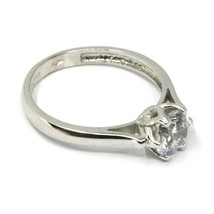 SOLID 18K WHITE GOLD RING, SOLITAIRE WITH CUBIC ZIRCONIA 1.70 CARATS ITALY MADE image 2