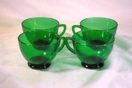 Anchor Hocking Forest Green Set Of 4 Punch Cups - $11.69