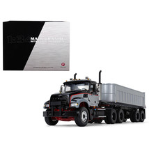 Mack Granite with End Dump Trailer Black and Silver 1/34 Diecast Model by First  - $135.10