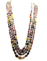 445.4Ct 100% Natural Multi color Tourmaline 4 Line Beads Necklace Mother... - $65.55