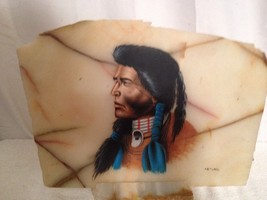 Beautiful Native American Indian Painting On Marble Slab With Marble Base - $42.08