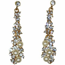 Rhinestone Pearl Stud Earrings Women Teen Fashion Accessories Ladies Drop - $6.92