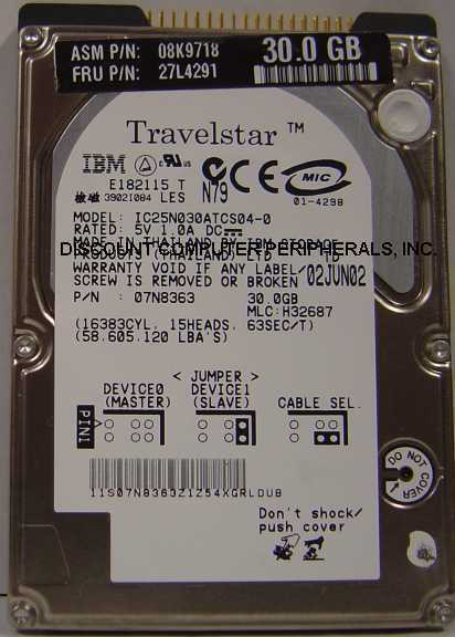 "30GB 2.5"" IDE Drive IBM IC25N030ATCS04-0 Tested Free USA Ship Our Drives Work"