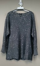 Alfani Women's Sweater Size 2X Boat Neck Long Sleeves Sequined Gray Part... - $24.99