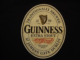 Guinness Extra Stout Beer Logo Drinks Alcohol Black Cotton T Shirt Size XL - $17.17