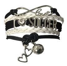 Soccer Bracelet, Soccer Jewelry - Adjustable Soccer Charm Bracelet - $9.99