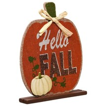 Harvest Pumpkin Welcome Sign Hello Fall 6.875x7.25 in. w - $6.99