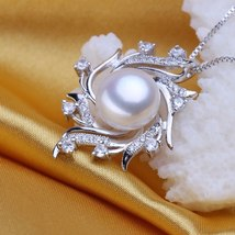 Pearl Dainty Pendant Necklace Fashion 925 Sterling Silver Boho Statement... - $22.00
