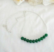 Necklace with Emerald Gemstones Natural Healing Stone Sterling Sliver Chain - $20.78