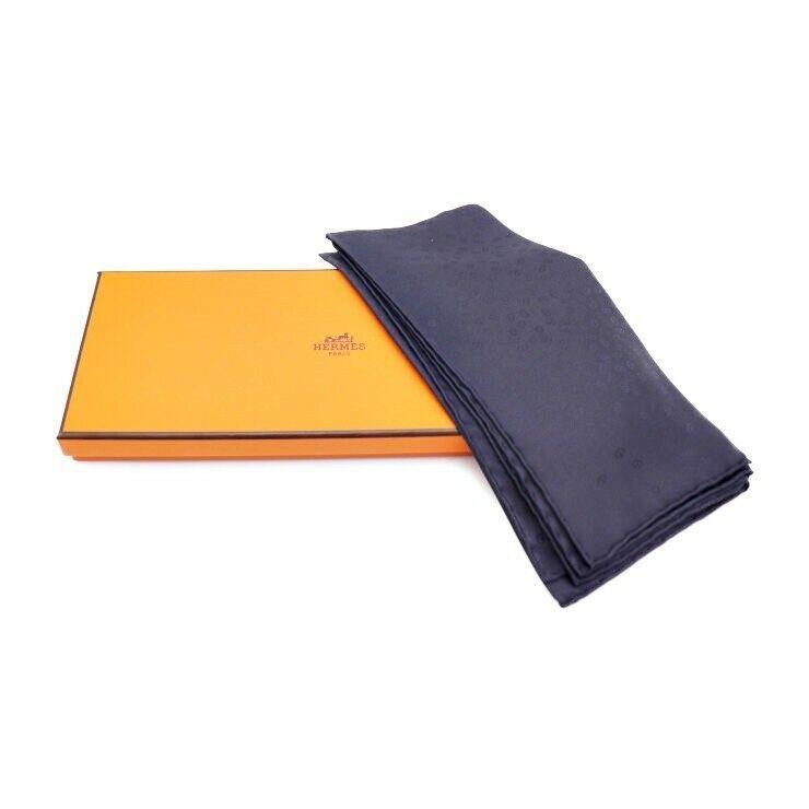 Hermes handkerchief scarf 100% silk Navy Auth