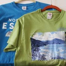 Lot 2 Unisex Delta Graphic Norwegian Escape T-Shirts Blue Green Cruise W... - $22.28