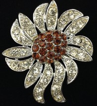 Vtg Celebrity Flower Pin Brooch Clear and Amber Crystals 1971 New York G... - $19.74