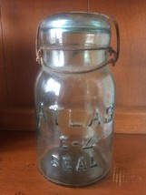 ATLAS E-Z SEAL GREEN Glass #5 QUART MASON FRUIT JAR EUC - $9.89