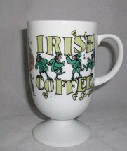 Irish Coffee Mug St Patrick Leprechauns Footed Ceramic Drunk Verse Enesc... - $18.74