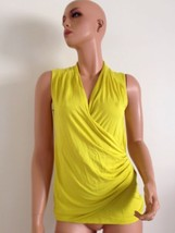 ANN TAYLOR Chartreuse Stretch Jersey Ruched Blouse Top Drape Small - $48.00