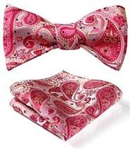 BIYINI Men's Paisley Floral Jacquard Woven Party Self Bow Tie Set Pink / Beige - $24.12