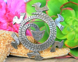 Vintage Coro Coiled Snake Serpent Birds Aztec Circle Brooch Pin Silver - $32.95