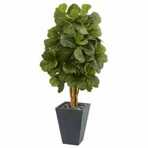Luxury Multicolor 5.5? Fiddle Leaf Artificial Tree in Slate Planter  - 5.5 Ft. - $305.38