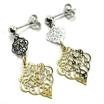 18K YELLOW WHITE GOLD PENDANT EARRINGS, DOUBLE WORKED RHOMBUS, MADE IN ITALY image 2