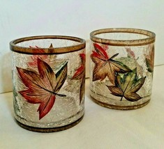 Crackle Glass Yankee Candle Autumn Leaves Lot of  2 Candle Holders - $29.65