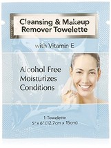 Cleansing and Makeup Remover Wipes with Vitamin E, 25 Pack in Organza Bag