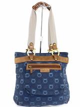 Auth Salvatore Ferragamo Ganchini Navy Canvas & Leather Shoulder bag #AU... - $148.76