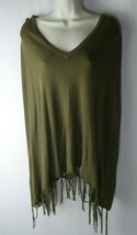 Michael Kors S/M green fringe poncho top - $29.69