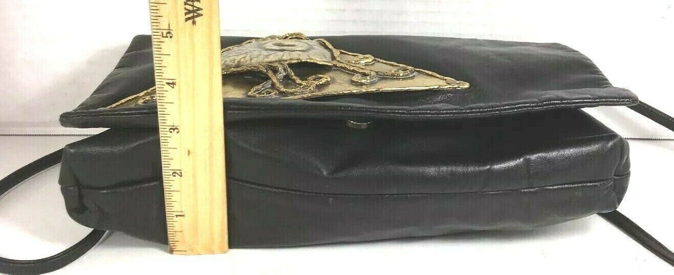 Eye of Horus Vintage Slim Black Faux Leather Crossbody Shoulder Bag- Unique