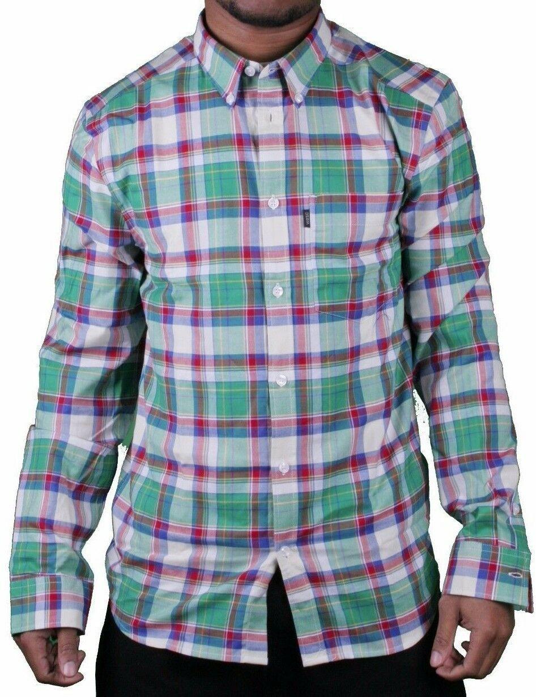 WeSC Vernon Blanco Espárrago Verde Azul Rojo Cuadros Informal con Botones Camisa
