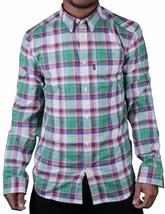 WeSC Vernon Blanco Espárrago Verde Azul Rojo Cuadros Informal con Botones Camisa image 1