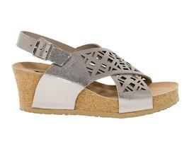 Sandalen mit Absatz MEPHISTO LEA in argento laminieren - Schuhe Damen - $121.03