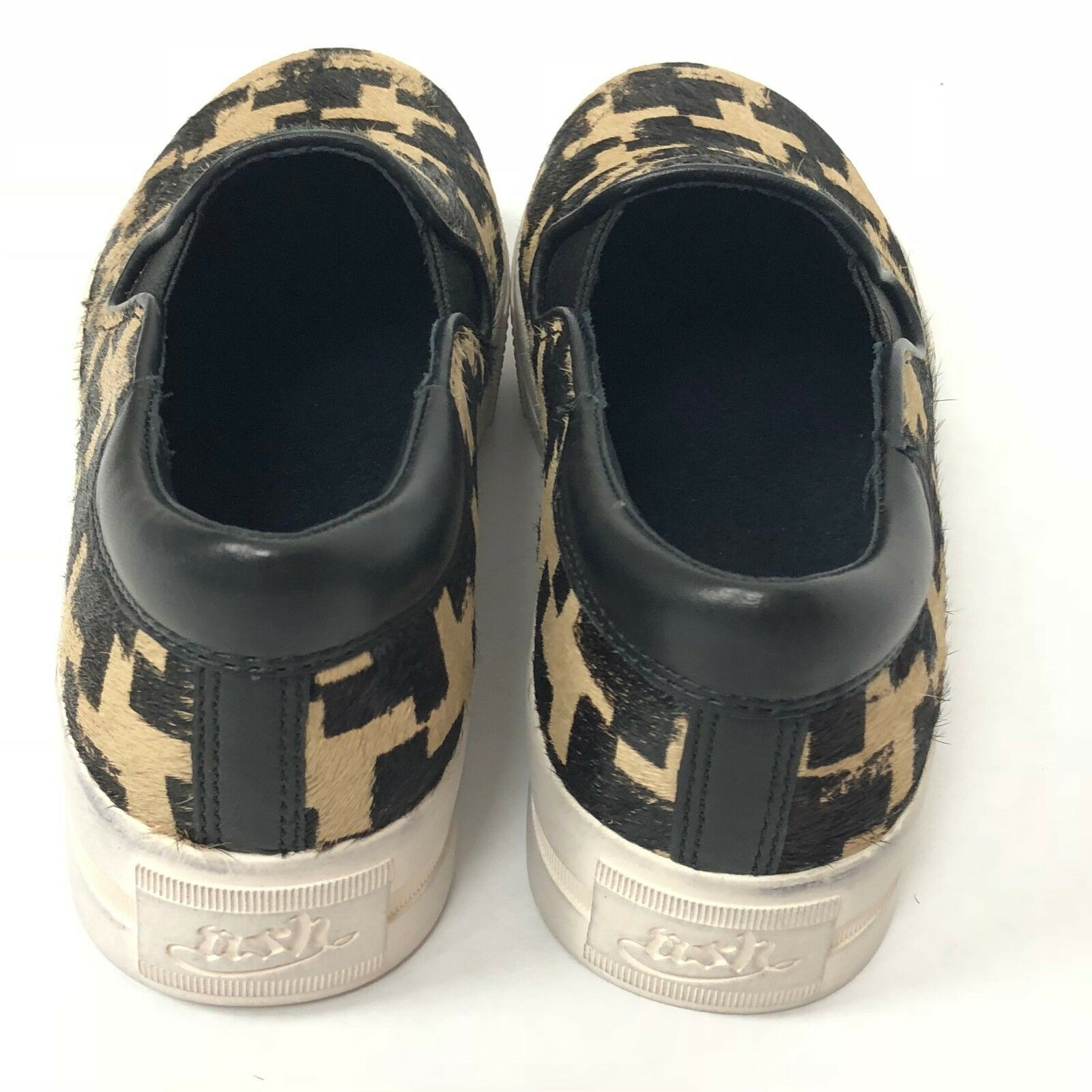 Ash Jam Cow Fur Sneakers Shoes 36 Women Slip On Brown Beige Checkered