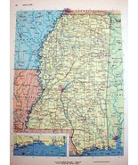 Mississippi Vintage Map 1964 Cosmo Series Rand McNally Wall Art - $14.99