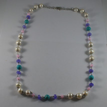 .925 SILVER RHODIUM NECKLACE WITH WHITE PEARLS, TURQUOISE, AMETHYST AND CRISTALS image 2