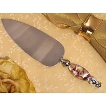 Murano Art Deco Lavender and Gold Swirl Cake Server - 84 Pieces - $446.95